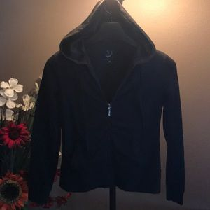 Black light weight zip up knit jacket adult small